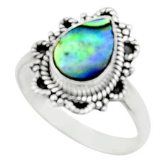 2.39cts natural abalone paua seashell 925 silver solitaire ring size 7.5 r52356