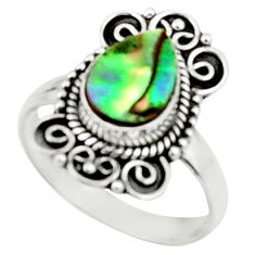 2.58cts natural abalone paua seashell 925 silver solitaire ring size 7.5 r52358