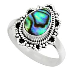 2.44cts natural abalone paua seashell 925 silver solitaire ring size 7.5 r52568