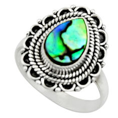 2.81cts natural abalone paua seashell 925 silver solitaire ring size 7.5 r52573