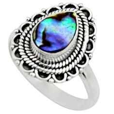 2.68cts natural abalone paua seashell 925 silver solitaire ring size 8.5 r52577