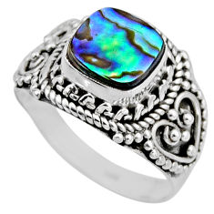3.22cts natural abalone paua seashell 925 silver solitaire ring size 6.5 r53354