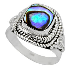 3.13cts natural abalone paua seashell 925 silver solitaire ring size 6.5 r53381