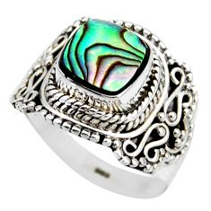 2.97cts natural abalone paua seashell 925 silver solitaire ring size 6.5 r53441