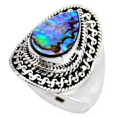 3.41cts natural abalone paua seashell 925 silver solitaire ring size 6.5 r53442