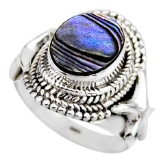 4.21cts natural abalone paua seashell 925 silver solitaire ring size 6.5 r53469