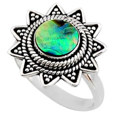 2.78cts natural abalone paua seashell 925 silver solitaire ring size 8.5 r54309