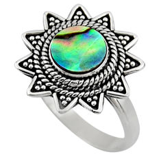 2.44cts natural abalone paua seashell 925 silver solitaire ring size 8.5 r54329