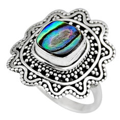 2.35cts natural abalone paua seashell 925 silver solitaire ring size 6.5 r54345