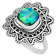 2.51cts natural abalone paua seashell 925 silver solitaire ring size 8.5 r54346