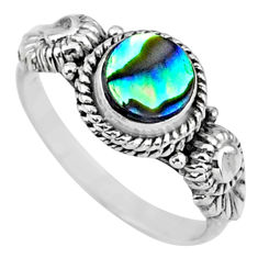 0.91cts natural abalone paua seashell 925 silver solitaire ring size 6.5 r57363
