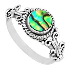 0.87cts natural abalone paua seashell 925 silver solitaire ring size 6.5 r57385