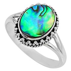3.29cts natural abalone paua seashell 925 silver solitaire ring size 7.5 r57386