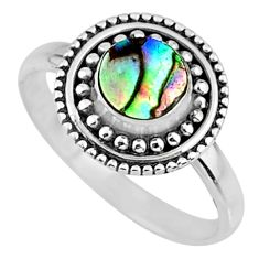0.85cts natural abalone paua seashell 925 silver solitaire ring size 7.5 r57426