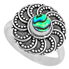 0.58cts natural abalone paua seashell 925 silver solitaire ring size 7.5 r57889