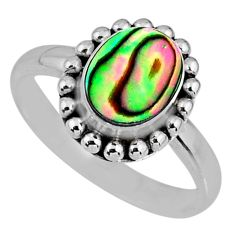 2.33cts natural abalone paua seashell 925 silver solitaire ring size 8.5 r57905