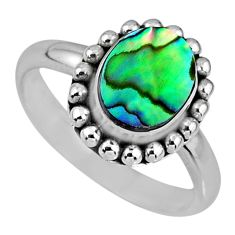 2.72cts natural abalone paua seashell 925 silver solitaire ring size 7.5 r57906