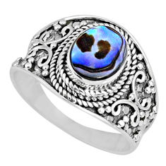 2.72cts natural abalone paua seashell 925 silver solitaire ring size 9.5 r57961