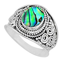 2.90cts natural abalone paua seashell 925 silver solitaire ring size 7.5 r57966