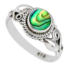 0.85cts natural abalone paua seashell 925 silver solitaire ring size 7.5 r58170