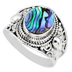 3.22cts natural abalone paua seashell 925 silver solitaire ring size 7.5 r58285