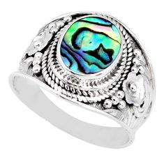 3.50cts natural abalone paua seashell 925 silver solitaire ring size 8.5 r58290