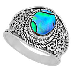2.90cts natural abalone paua seashell 925 silver solitaire ring size 7.5 r58601