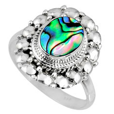 2.90cts natural abalone paua seashell 925 silver solitaire ring size 8.5 r58972