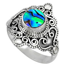 2.21cts natural abalone paua seashell 925 silver solitaire ring size 7.5 r61066