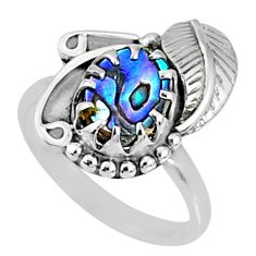 2.68cts natural abalone paua seashell 925 silver solitaire ring size 7.5 r67287
