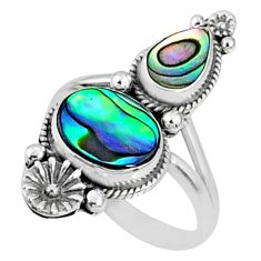 5.52cts natural abalone paua seashell 925 silver solitaire ring size 8.5 r67305