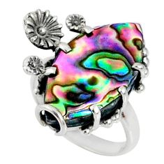 8.44cts natural abalone paua seashell 925 silver solitaire ring size 6.5 r67369