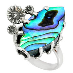 8.80cts natural abalone paua seashell 925 silver solitaire ring size 6.5 r67370