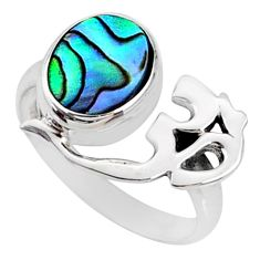 2.42cts natural abalone paua seashell 925 silver solitaire ring size 6.5 r67406