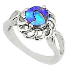2.08cts natural abalone paua seashell 925 silver solitaire ring size 7.5 r68691