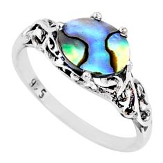 2.21cts natural abalone paua seashell 925 silver solitaire ring size 8.5 r68869