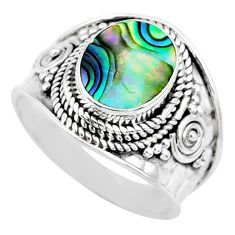 3.18cts natural abalone paua seashell 925 silver solitaire ring size 7.5 r74692