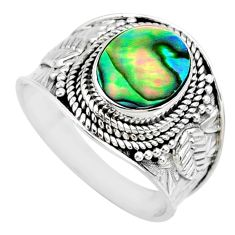 2.92cts natural abalone paua seashell 925 silver solitaire ring size 8.5 r74693
