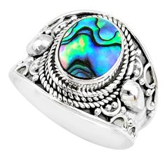 3.09cts natural abalone paua seashell 925 silver solitaire ring size 7.5 r74694
