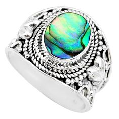 2.97cts natural abalone paua seashell 925 silver solitaire ring size 7.5 r74697
