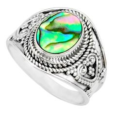 3.35cts natural abalone paua seashell 925 silver solitaire ring size 8.5 r74699
