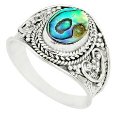 2.81cts natural abalone paua seashell 925 silver solitaire ring size 8.5 r84001