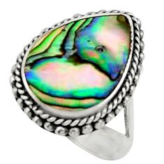 5.36cts natural abalone paua seashell 925 silver solitaire ring size 6 c9814