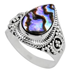 3.29cts natural abalone paua seashell 925 silver solitaire ring size 6 r53383