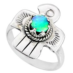 0.81cts natural abalone paua seashell 925 silver solitaire ring size 6 r67447