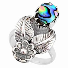 3.23cts natural abalone paua seashell 925 silver solitaire ring size 6 r67491