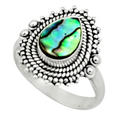 2.55cts natural abalone paua seashell 925 silver solitaire ring size 7 r52346