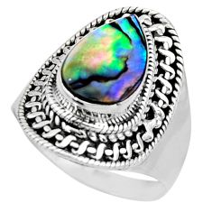 3.58cts natural abalone paua seashell 925 silver solitaire ring size 7 r53347