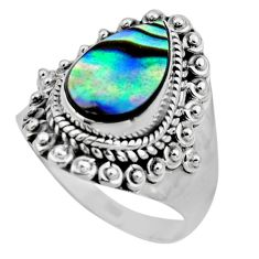 3.53cts natural abalone paua seashell 925 silver solitaire ring size 7 r53356