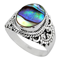 3.29cts natural abalone paua seashell 925 silver solitaire ring size 7 r53382